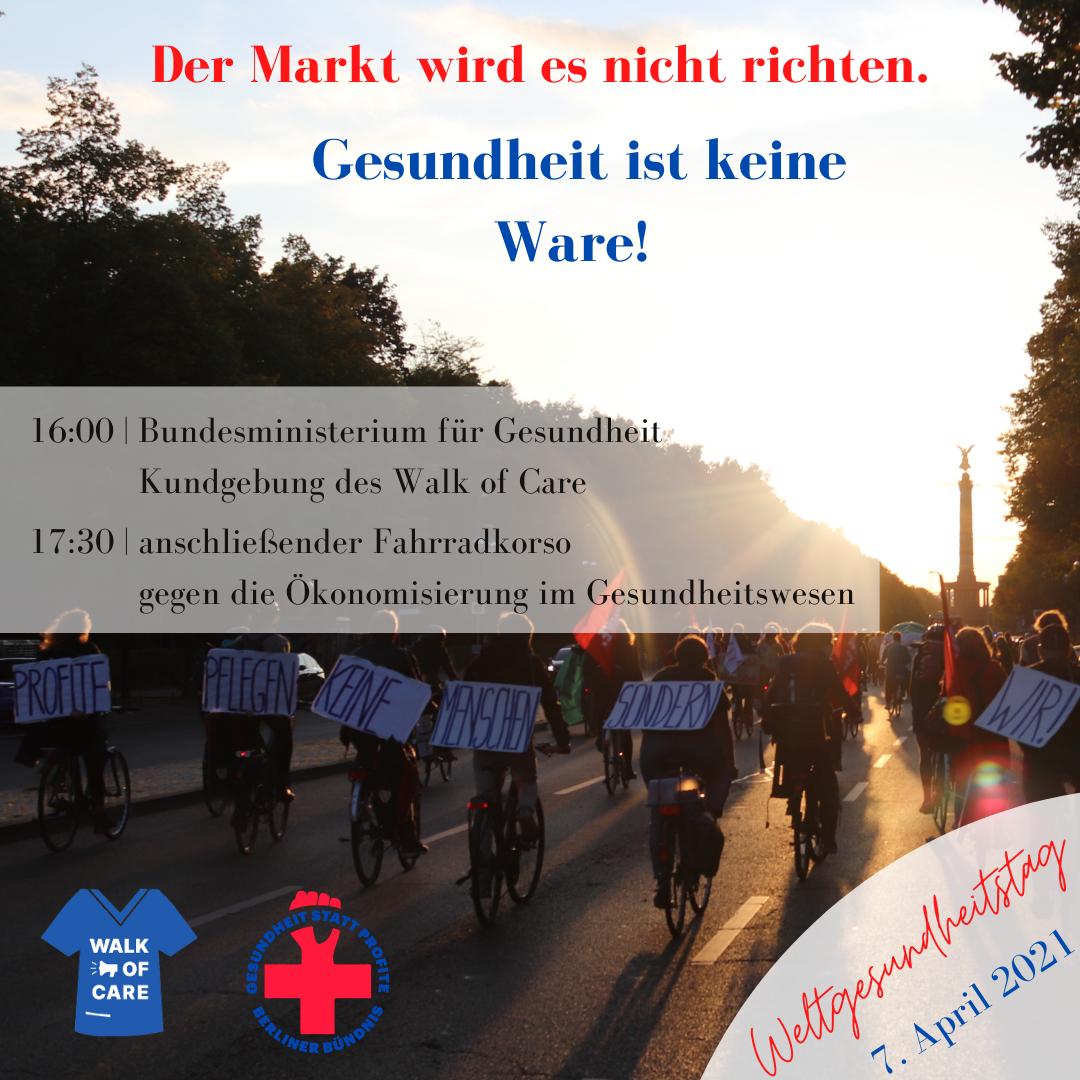 Kundgebung und Fahrraddemonstration gegen die Ökonomisierung im Gesundheitswesen
