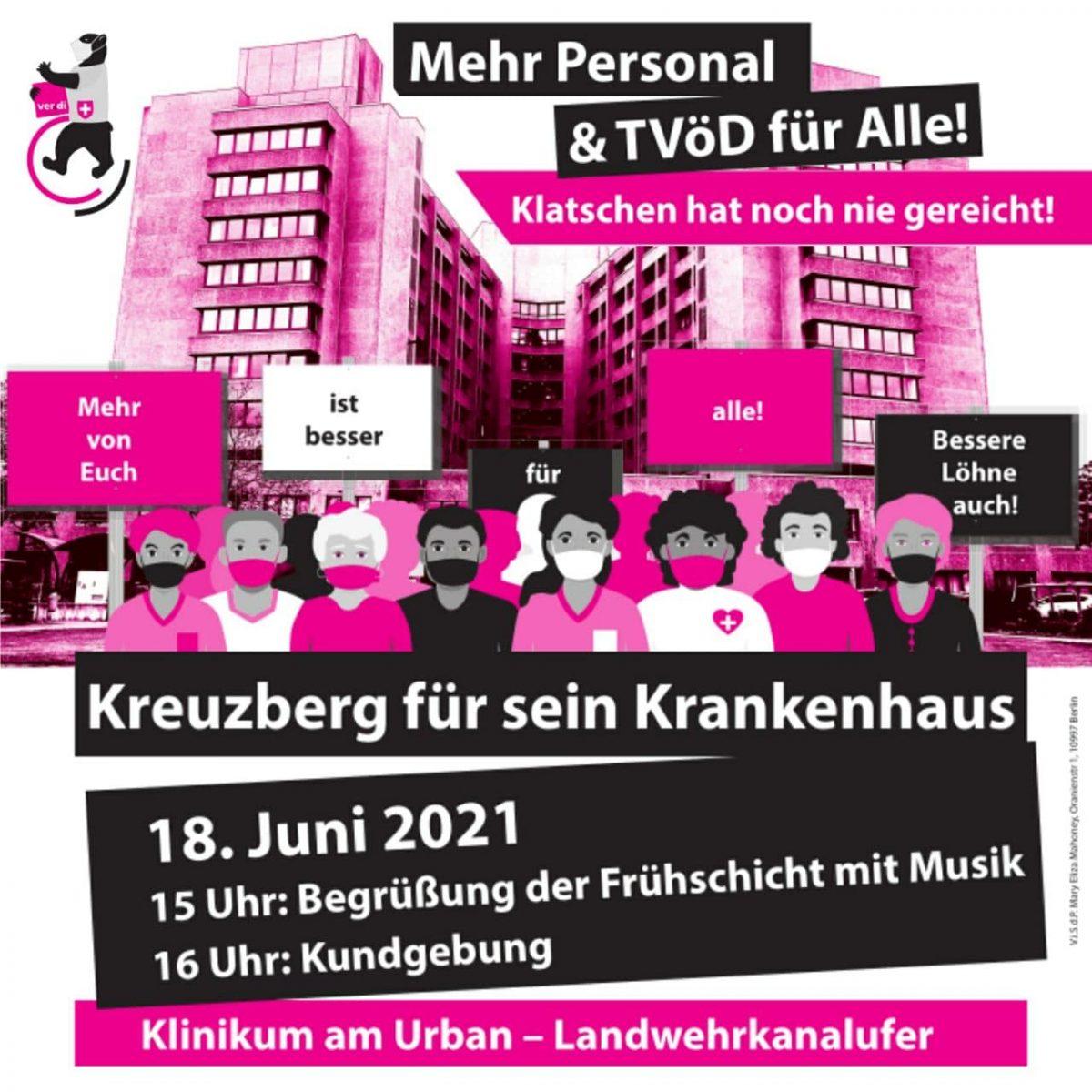 Presseeinladung: Gesundheit und Wohnen dürfen keine Ware sein – Kundgebung am 18.6. um 16 Uhr vor dem Urban-Klinikum